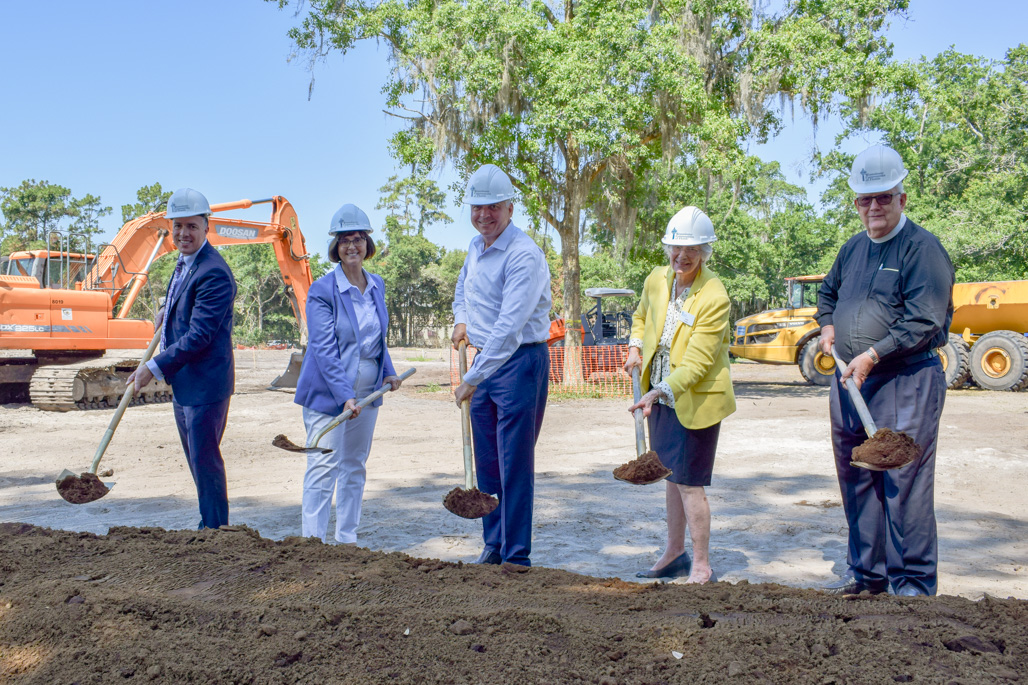 The ceremonial turning of the shovels, from left to right, Brian Tenney, Executive Director; Cyndi Stevenson, Florida State Representative; CEO Terry Rogers; Dr. Joan Hodges, Chair of the Resident Council; and the Rev. Dwight Bayley.