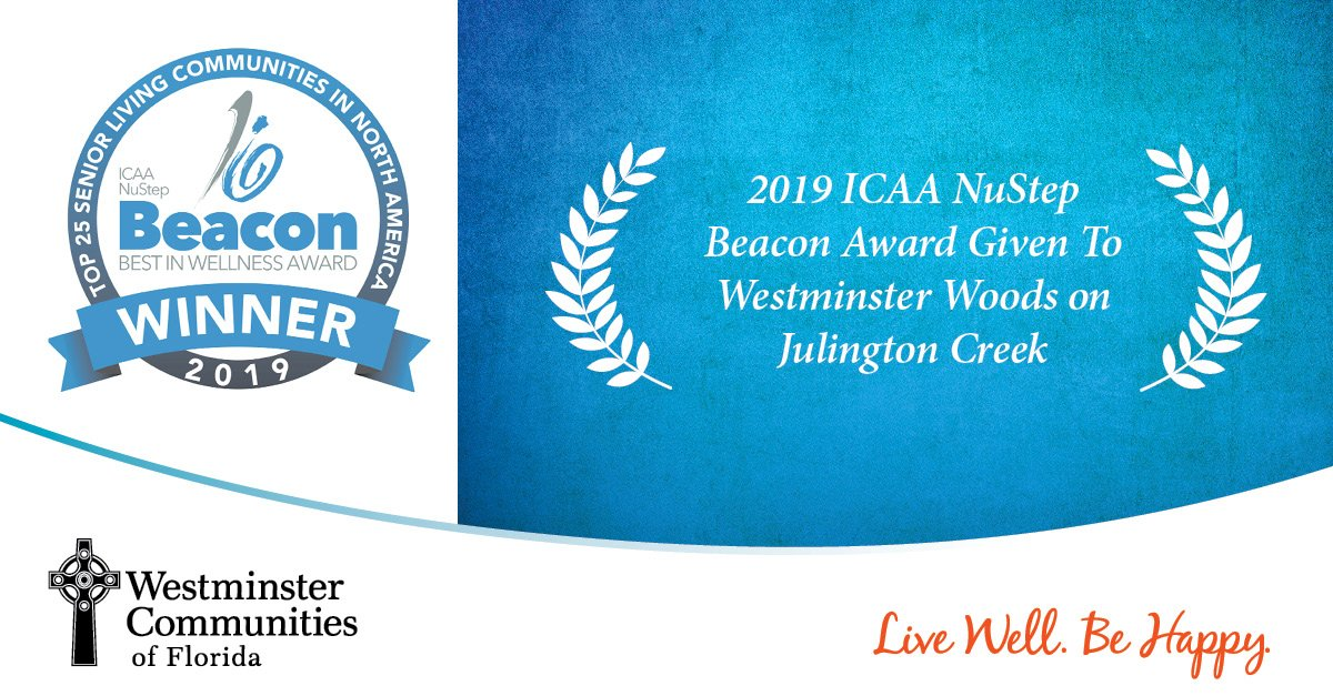 2019 ICAA NuStep Beacon Award Given To Westminster Woods on Julington Creek