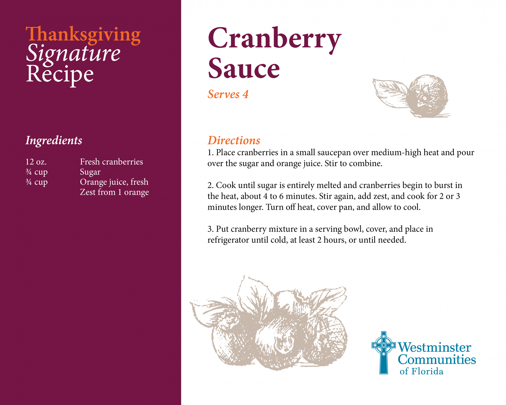 Signature Recipe for Cranberry Sauce