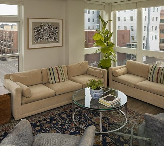 Apartment living room at Abiitan Mill City in Minneapolis MN