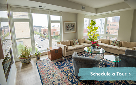View of your potential living room at Abiitan Mill City in Minneapolis MN